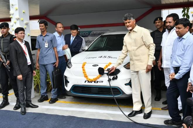 AP CM inaugurated KIA Motors EV Charging Stations in Amaravati