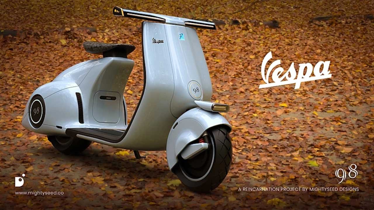 Iconic Vespa 98 electric scooter reimagined